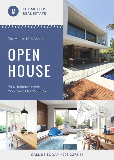 Blue Photo Modern Open House Flyer - Templates by Canva - open house flyer