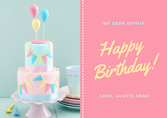 Pink Pastel Cake Photo Cute Birthday Card - Templates by Canva - birthday cake card template