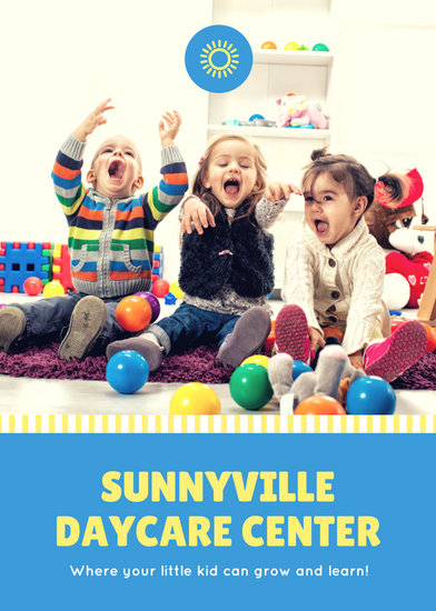 Blue and Yellow with Kids Daycare Flyer - Templates by Canva