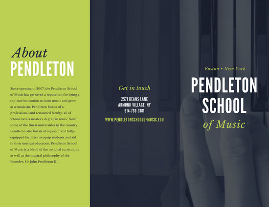 Green Grey Piano Music School Bold Trifold Brochure - Templates by Canva - music brochure