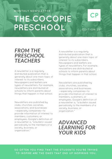preschool newsletter - Pinarkubkireklamowe