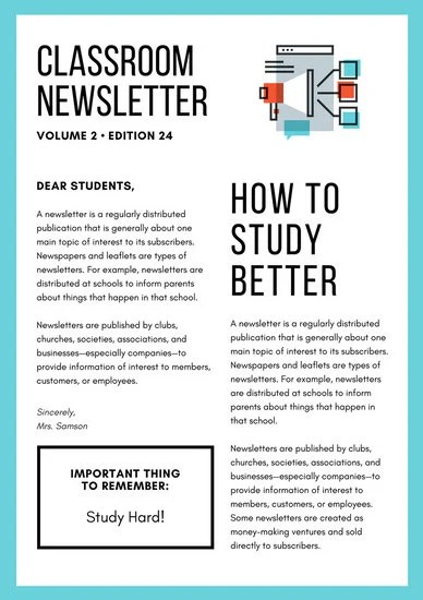 Orange and Turquoise Illustration Classroom Newsletter - Templates - example news letter