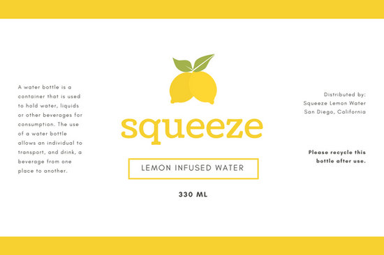 White with Yellow Lemons Water Bottle Label - Templates by Canva