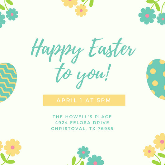 Cream Flowers and Eggs Easter Invitation - Templates by Canva