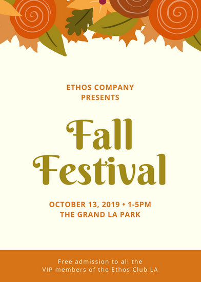 Cream with Foliage Fall Festival Flyer - Templates by Canva