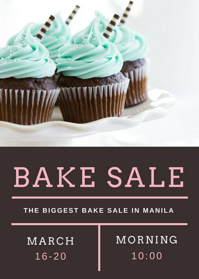 Brown White and Pink Cupcake Grid Bake Sale Flyer - Templates by Canva