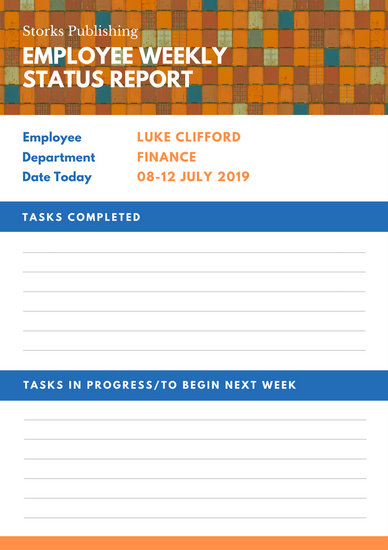 Orange and Blue Weekly Report - Templates by Canva - employee weekly report