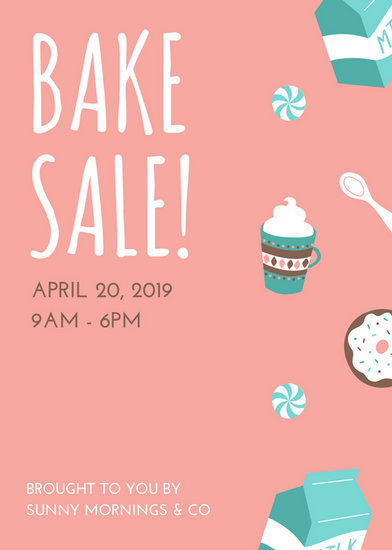 Pink and Turquoise Illustrated Bake Sale Flyer - Templates by Canva
