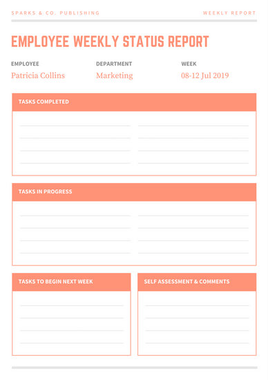 Customize 66+ Weekly Report templates online - Canva - employee weekly report