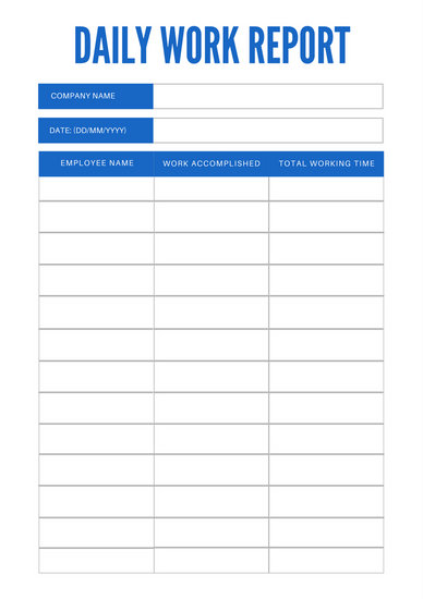 Simple Blue Daily Work Report - Templates by Canva - daily work report template