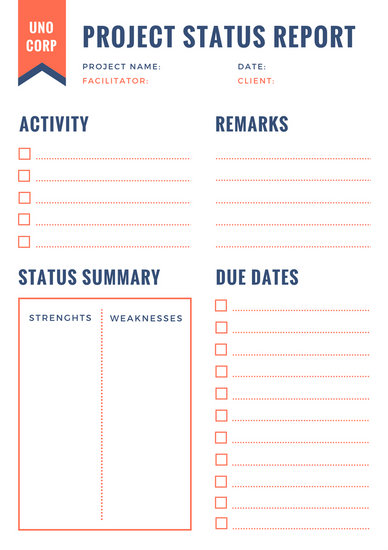 Orange and Blue Project Status Report - Templates by Canva - project status sheet