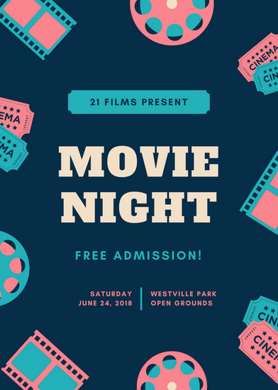 Pink, Aqua,  Blue Illustrated Movie Night Flyer - Templates by Canva