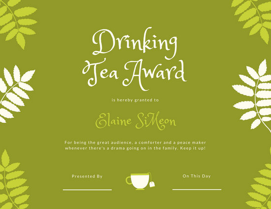 Green Leaves Tea Funny Award Certificate - Templates by Canva - Silly Certificates Awards Templates