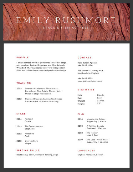 Minimalist Texture Acting Resume - Templates by Canva - acting resumes templates