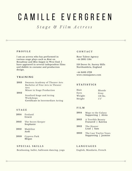 Customize 60+ Acting Resume templates online - Canva - acting resume