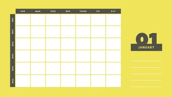 Yellow and Gray Undated Weekly Calendar - Templates by Canva