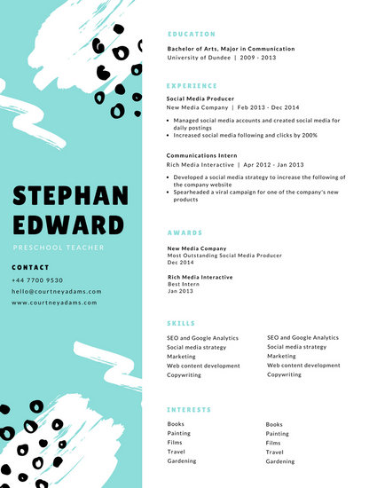 Turquoise White Paint Strokes Modern Teacher Resume - Templates by Canva