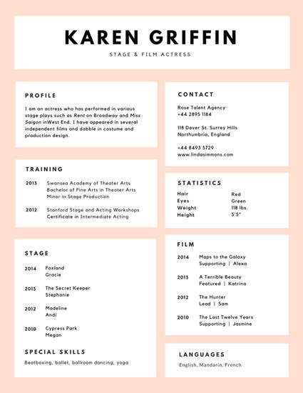 Customize 60+ Acting Resume templates online - Canva