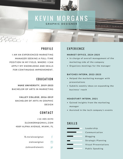 Turquoise Photo Interior Designer Resume - Templates by Canva
