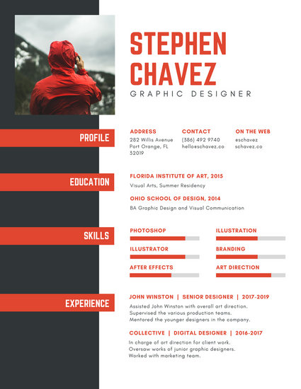 Red and Dark Gray Graphic Designer Resume - Templates by Canva - visual designer resume