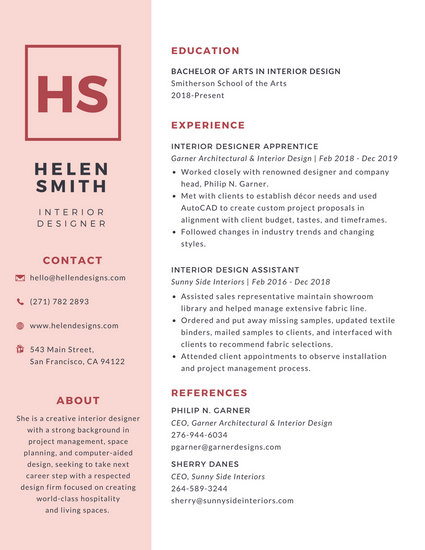Simple Pink College Resume - Templates by Canva - Simple Resume Design