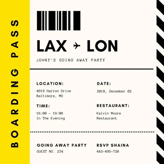 Yellow and Black Lines Boarding Pass Invitation - Templates by Canva - boarding pass template