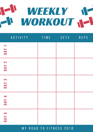 Red and Blue Workout Schedule Planner - Templates by Canva