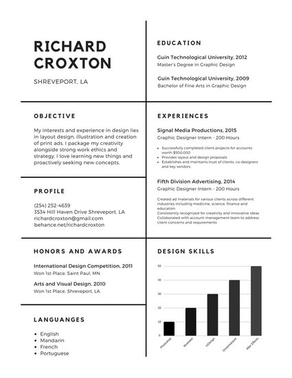 Black Simple College Resume - Templates by Canva