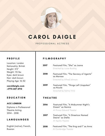 professional acting resume template - Intoanysearch