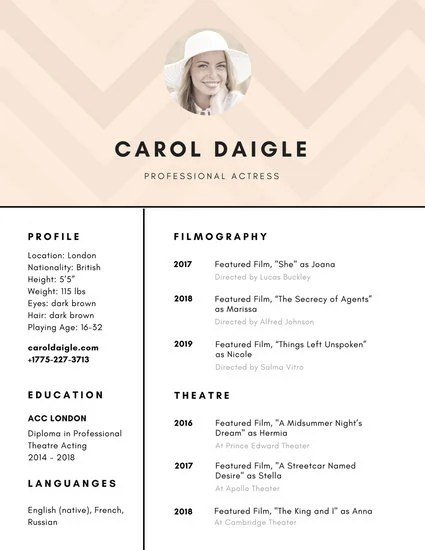 Antique White Acting Resume - Templates by Canva - acting resume template 2016