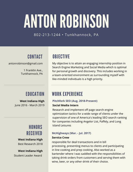 Blue Simple High School Resume - Templates by Canva - Best High School Resume