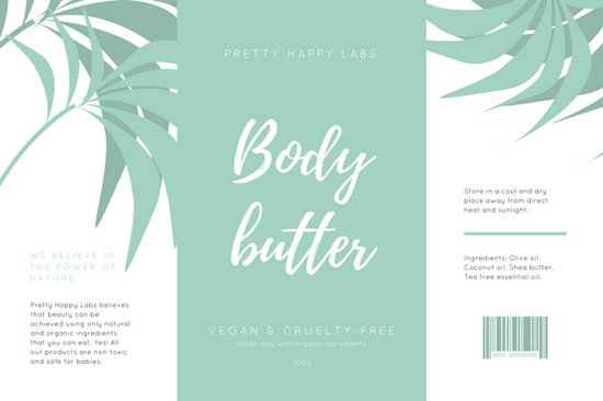 Pale Teal  White Minimalist Tropical Handwritten Product Label