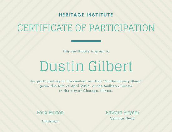 Customize 119+ Participation Certificate templates online - Canva - design of certificate of participation