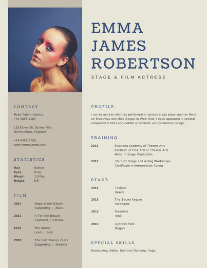 Brown Simple Photo Acting Resume - Templates by Canva - Resume For Acting