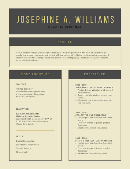 Pale Gold and Charcoal Clean Classic Simple Corporate Resume