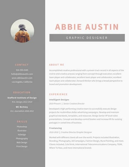 Gray Sidebar Graphic Design Resume - Templates by Canva - graphic design resume templates