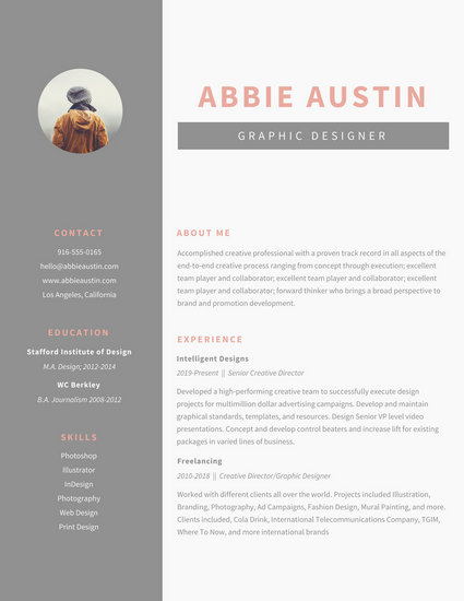 Customize 564+ Graphic Design Resume templates online - Canva - graphic designer resume template
