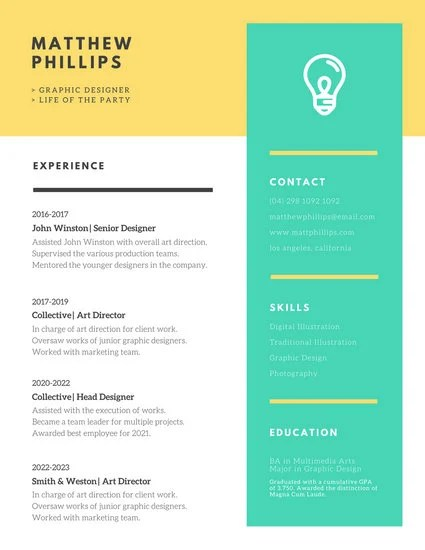 Yellow Polka Dots Creative Resume - Templates by Canva