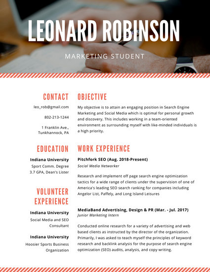 Orange and White Simple Marketing Student College Resume - Templates - marketing student resume