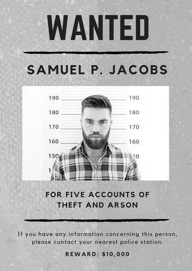Gray Monochrome Mugshot Photo Criminal Wanted Poster - Templates by
