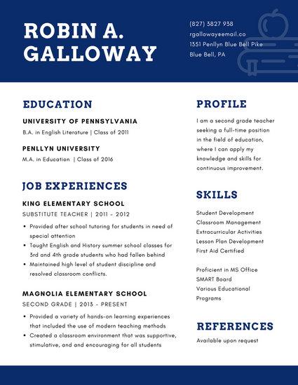 Blue and White Apple Books Icon Teacher Resume - Templates by Canva - apple resume templates