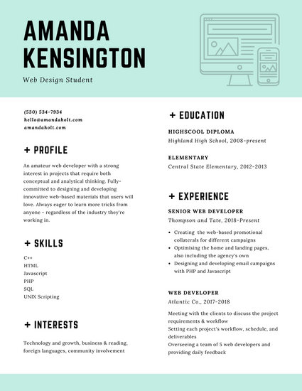 Light Blue Green Website Icon Design Resume - Templates by Canva - Designing A Resume