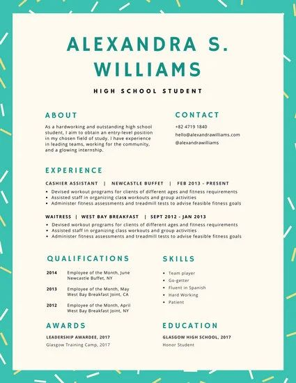 infographic resume high school