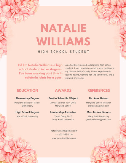 Pink Floral Watercolor High School Resume - Templates by Canva