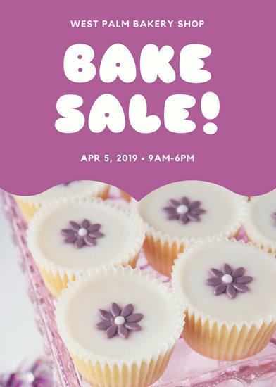 Purple Cupcake Photo Bake Sale Flyer - Templates by Canva
