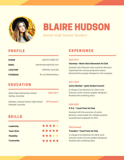 Orange Warm Modern Photo High School Resume - Templates by Canva - good high school resume