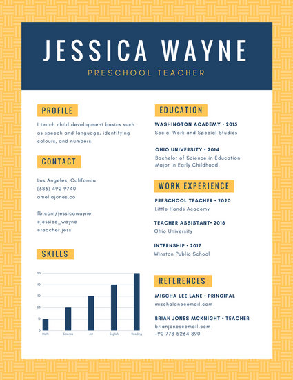 Yellow Blue Simple Pattern Preschool Teacher Resume - Templates by Canva