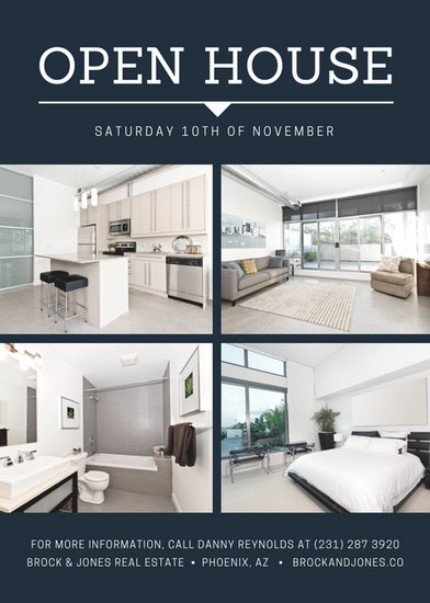 Blue Collage Simple Open House Flyer - Templates by Canva - open house flyer