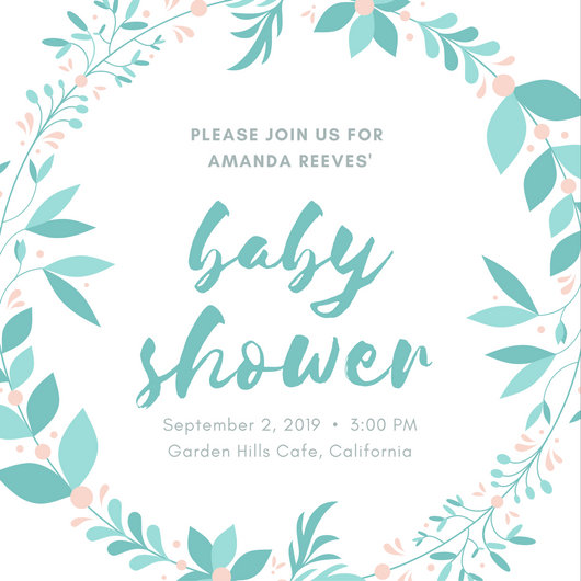 Mint Wreath Baby Shower Invitation - Templates by Canva