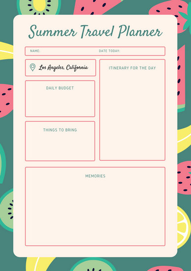 Coral Fruit Pattern Travel Itinerary Planner - Templates by Canva